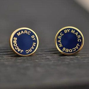 Marc jacobs navy blue classic earrings